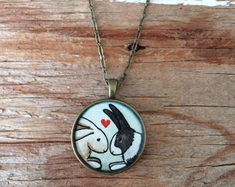 Bunny Love Necklace - Original Watercolor Art Hand Painted Necklace Pendant, Valentines Day