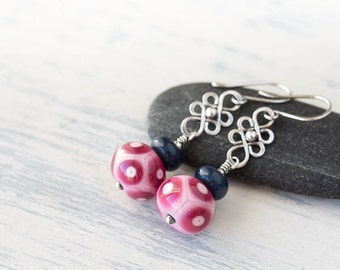 Pink Purple and Blue Lampwork earrings, sterling silver ornament with stacked glass bead dangle, patterned SRA lampwork beads