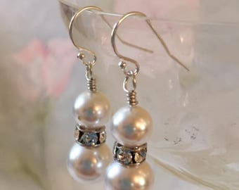 Crystal Pearl Dangle Wedding Bridal White Silver Earrings Bracelet