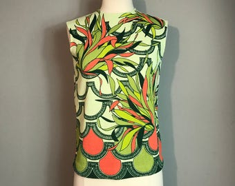 Vintage 60s 1960s Sleeveless High Neck Top or Blouse - Mod Floral Print - Light Green with Orange - by DEVON