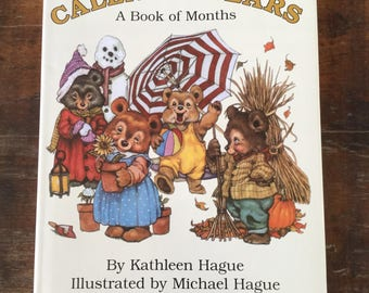 CalendarBears A Book of Months by Kathleen Hague Illustrated by Michael Hague, Vintage Illustrated Children's Book, Teddy Bears