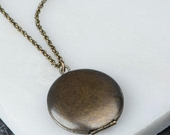 Dark Locket Simple Necklace, Brass Antique Locket, Small Unisex, Man's Necklace, Men's Locket, Men's Jewelery, Rope Chain