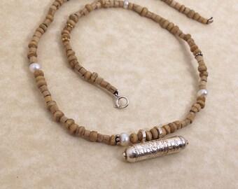 Narasimha Deva Kavacha Pendant on Tulsi Silver and Pearl Beads Necklace OOAK