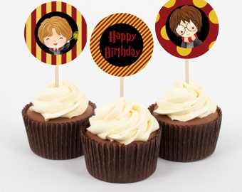 Harry Potter Birthday Cupcake Topper and wrappers, Instant Download Wizard Party, Kids party, Witchecraft Party, Print yourself
