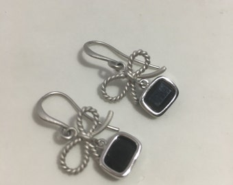 Petite bow earrings, matte silver with square  framed black glass. Girly Jewelry.  Spring jewelry. Gift for her. Tiny Earrings. Shabby chic