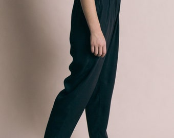Vintage 80s Pleated Harem Trousers with Satin Waist   M