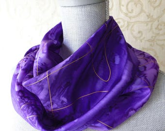 Silk Scarf Hand Dyed in Purples with Gold Swirls