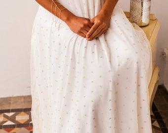 Vintage wedding dress, bridal gown, gold polka dots, vintage wedding gown, tulle wedding dress, golden bridal gown, golden wedding dress