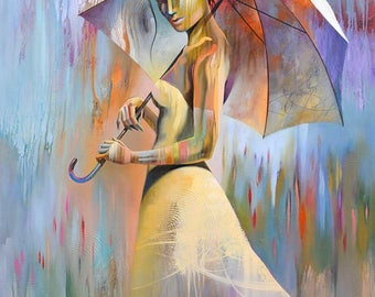 Abstract Figure Art • Figure Painting Reproduction • SPRING GARDEN • Contemporary Woman Fine Art Print • Figurative Art •  Umbrella Art