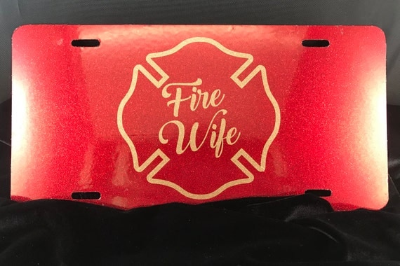 Fire Wife License plate - Red and Gold Glitter/ First Responder /Firefighter