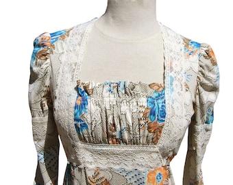"""Vintage 70s Lace Print Maxi Dress 34"""" bust 1970s Festival Boho Hippie"""