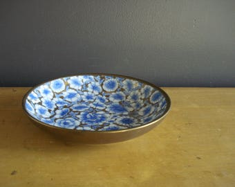 Gorgeous Brass and Blue and White Bowl - Vintage Handpainted Brass Flower Bowl or Dish