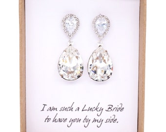 Sandra - Wedding Bridal Bridesmaid Swarovski Crystal Teardrop Earrings, Cubic Zirconia Bridesmaid Earrings, Bridal Wedding Jewelry