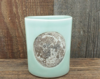 Large Celadon Moon Cup. 12 oz Astronomy Canister. Handmade Porcelain High Fired Pencil Cup/Toothbrush Holder by SKT Ceramics on Etsy