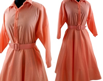VtG Shirt Dress by the American Shirtdress Company, Vintage 80s Peach Dress, Fits Medium to Large Sizes, Matching Belt Included, 50s Style