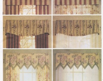 """Valance & Drape Sewing Pattern Window Size 36"""" 42"""" 48"""" Butterick 3748, UNCUT, Waverly Window Treatments, Mounting Board"""