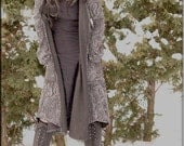 Jacket - Steampunk - Wrap Around Jacket - Hooded Wrap Sweater - Open Jacket - Hooded Jacket - Bohemian - Paisley Grey - Size Small