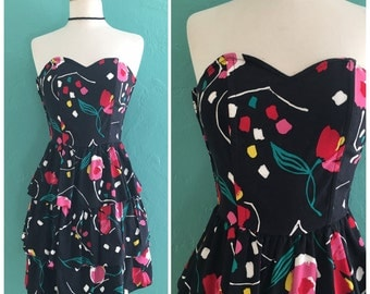 80's strapless dress // liberty house floral ruffle party dress ~ small medium