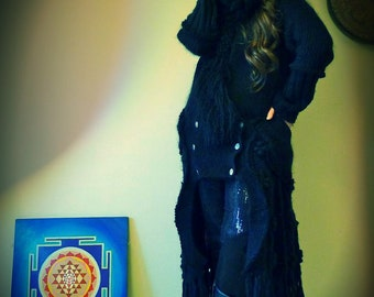 Upcycled Cardigan Coat Black with Mongolian Sheepskin Collar               ReMade in England UK