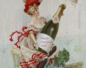 antique victorian pinup illustration angels champagne happy new year poster digital download