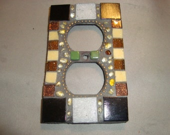 MOSAIC Electrical Outlet COVER , Wall Plate, Wall Art, Black, Brown, Beige, Gray, Green