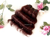 Dark brown Wefted mohair wavy hair waldorf, Blythe Doll wig, tress, fabric dolls, curly mohair goat fiber, HAIR EXTENSION