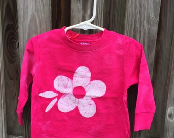 Flower Girls Shirt, Pink Flower Shirt, Kids Flower Shirt, Girls Flower Shirt, Fuchsia Flower Shirt, Pink Girls Shirt (18 months)