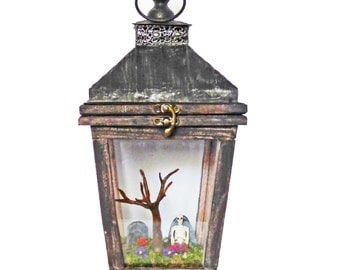 Gothic Art Diorama - Miniature Cemetery in Lantern - Dark Art with Skeleton - Creepy Gothic Art