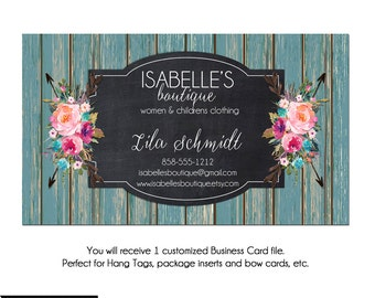 Custom PreMade Business Cards - The Isabelle 2 - Watercolor Boutique Business Cards, Arrow Business Cards, Custom Business Cards