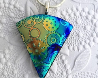 Dichroic Pendant - Dichroic Glass Jewelry - Gears Pattern - Fused Glass Pendant - Dichroic Fused Glass – 26-17