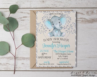 Rustic Baby Shower Invitation, Elephant Baby Shower Invitation, Boy Baby Shower invitation, Baby Shower Invitation