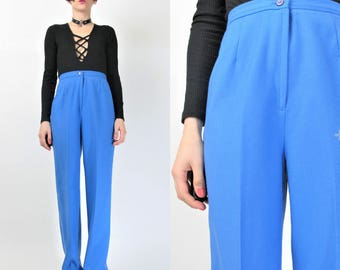 1970s Wool Pants Palazzo Wide Leg Pants High Waisted Pants Bright Cobalt Blue Pants Womens Trousers Deadstock 70s Bell Bottoms (S) E3074