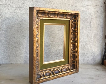 Midcentury Modern wood picture frame gold gilt olive velvet accent, vintage gold gilt frame, vintage frame, home decor Brutalist decor