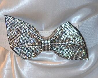 Bow cinch belt ,Wide elastic stretch corset belt, cinch belt with big glitter bow, wedding  belt , one size