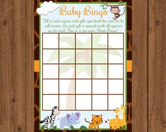 Safari Baby Shower,Jungle Baby Shower, Shower Bingo, Baby Shower Bingo,Baby Shower Game,Safari Baby Bingo,Safari Shower Bingo,Jungle Baby