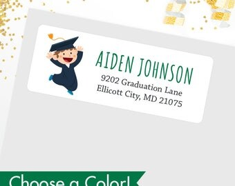 Boy Graduation Address Labels (Different Hair Colors & Skin Tones Available) - Glossy Finish - Sheet of 30