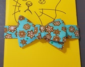 Cat Bow Tie - Light Blue with Gingerbread Snowflakes