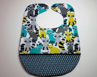 Reversible Pocket Baby Toddler Bib - Sturdy, Large, Absorbant, Snap Closure, Racoon Print