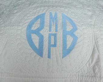 Four Letter Monogram -  Baby Quilt - Monogrammed / Embroidered Baby Blanket