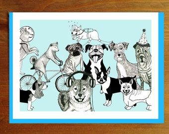 All Dogs Party Blue Greeting Card