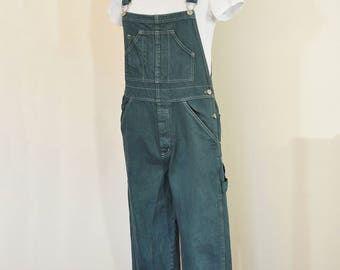 """Green Small Bib OVERALL Pants - Dark Green Dyed Old Navy Cotton Denim Overalls - Adult Womens Size Small (34"""" W x 30"""" L)"""