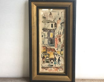 Mid Century Water Color Litho Signed Russell IBF CO Street Scene
