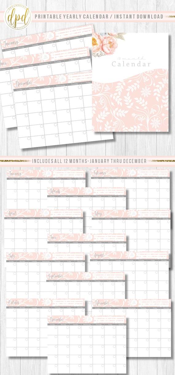 "Premade Printable Twelve Month Calendar   Lettersize 8.5"" x 11""   Premade Set   Business Prints   Business Designs-INSTANT DOWNLOAD-ST923"