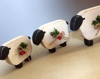 Christmas Sheep Primitive Rustic