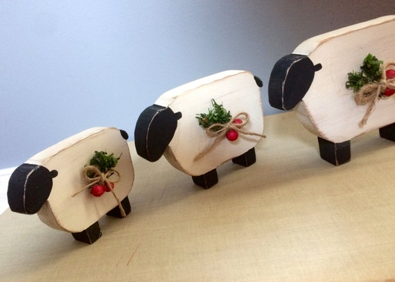 Christmas Sheep Primitive Rustic