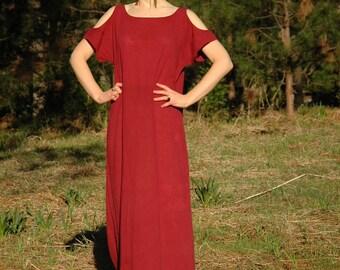 Size Large... Cotton Maxi Dress... Cut Out Shoulders... Gorgeous Maroon... Coastal Goddess Wear