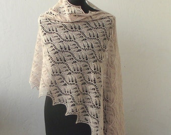 Beige lace shawl, hand knitted lace stole,  knitted  shawl