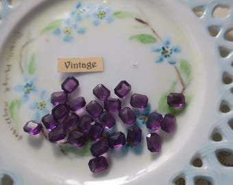 Vintage Cushion Octagon Rhinestones Amethyst 7x6mm Pointed back NOS vintagerosefindings #1254A