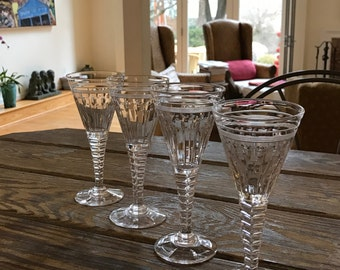 4 RARE Stuart Oleta Wine Glasses Stemware Barware Gorgeous French Villiers Cut Renaissance Revival Style Made in England