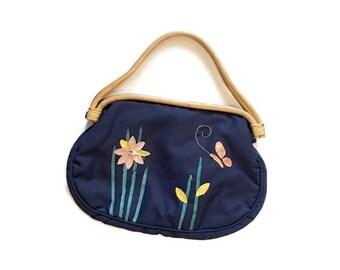 Vintage Bermuda Bag / bamboo handle / Reptile applique Flower Butterfly design